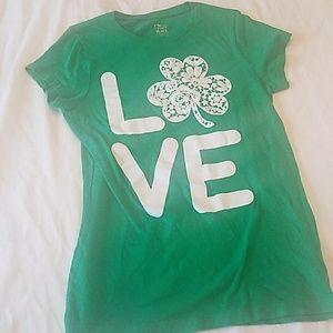 7/$10 LOVE Lace Shamrock Green Tshirt sz L 10-12